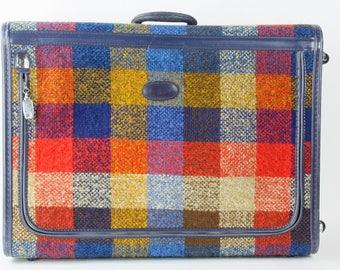 Vintage Skyway Plaid Travel Suitcase 1970s Retro Travel
