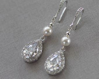 Bridal Earrings, Wedding Earrings, Rhinestone Earrings - Emma