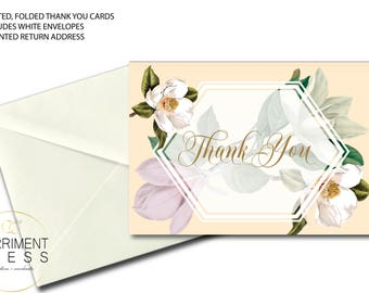 Magnolia Thank You Card // Folded Thank You // Botanical // Blush // Greenery // Cream // White // Printed // CHARLESTON COLLECTION