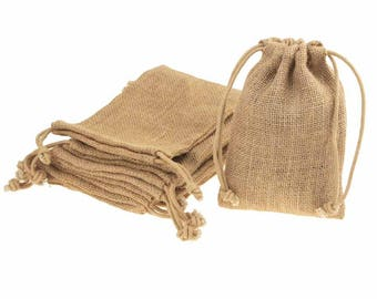 Natural Burlap Favor Bags with Drawstring, 12-Piece
