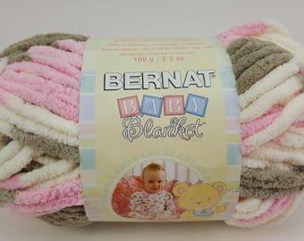 "Bernat Baby Blanket Yarn, ""Little Petunias"", 100 % Polyester, Variegated Yarn, Soft Yarn, Beige, Pink and Off White Yarn, Multicolor Yarn"