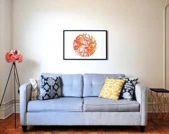 Orange And Red Bamboo Screen Print, Nature Wall Decor, orange Screen Print, red Screen Print, red wall art, orange wall decor, art print
