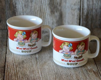 Campbell's Soup Mugs, Mmmm Good! Collectible Advertising, Vintage Kitchen, Mugs, Soup Label Mugs, Collectible, Westwood, Campbell Soup Co