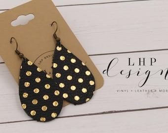 Small Gold Metallic Pokadots on Black Full Grain Cowhide Leather Earrings