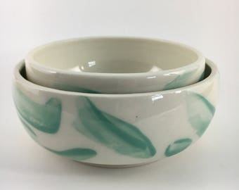 Brushed Bowl set in teal