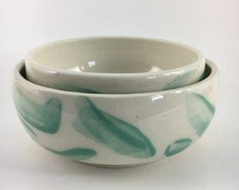 Brushed Bowl set in teal
