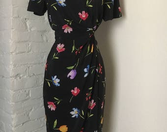 90s Wrap Around Flower Silk Dress / Black Floral Dress