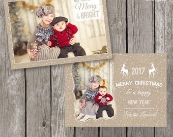 Country Rustic Christmas Card - Farmhouse Style Christmas Template for Photographers - CC16
