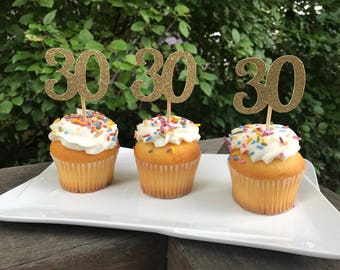 30th Birthday Cupcake Toppers 12 Ct.,  Glitter 30th Birthday Decoration, 30th Birthday Table Decorations, Age Cutouts, Cupcake Decorations