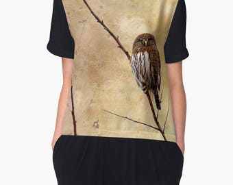 Owl Top, Owl Clothing, Owl Clothes for Women, Pygmy Owl, Bird Clothing, Womans Clothing, Chiffon Top, Short  Sleeve Top
