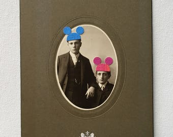 disneyland, mickey mouse, mickey mouse ears, original mixed media, vintage photograph, brothers, birthday