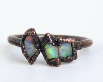 Raw opal ring - Rough opal ring - Rough opal jewelry - Australian fire opal jewelry - Fire opal ring - Rough Australian opal ring