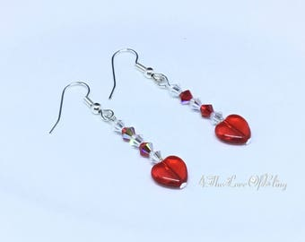 Pretty Heart Earrings made with Swarovski Crystals and Czech Hearts and Nickel free silver plated stainless steel