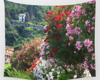 Italy Photography, Bellagio, Floral Tapestry, Italy Wall Decor, Floral Wall Art, Extra Large Wall Decor, Dorm Tapestry, Girls Bedroom Decor