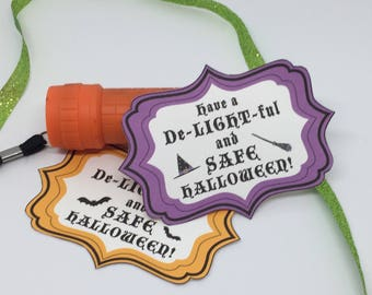 Halloween Party Flashlight Favor Tags - Printable PDF File - Instant Download