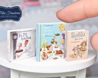 Miniature books SET - cooking baking cakes retro vintage - handmade Dollhouse 1:12 scale