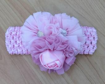 Baby Girl Headband, Flower Headband, Pink Headband, Baby Headband, Baby Hair Accessory, Infant Headband, Newborn Headband, Toddler Headband