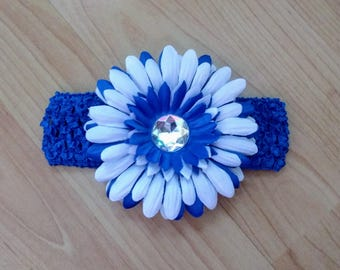 Blue Flower Headband, Baby Headband, Royal Blue Headband, Baby Hair Accessory, Infant Headband, Baby Girl Headband, Newborn Headband