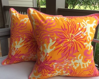 """Lilly Pulitzer for Lee Jofa """"Bimimi"""" in orange and hot pink pillow cover"""
