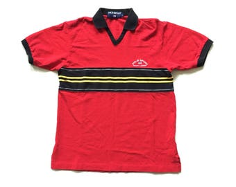 90s POLO SPORT Ralph Lauren open collar t shirt polo sport collared v neck tee shirt striped multi colour red yellow black size small