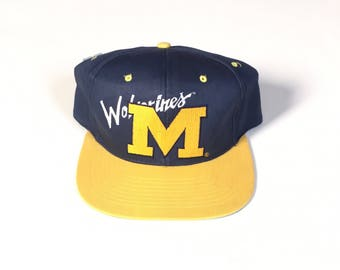 Vintage Michigan Wolverines NCAA  Snapback hat Adjustable one Size Fits all OSFA strap back hat Cap Nos deadstock New with tag