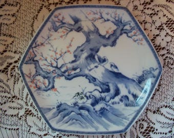 Vintage Toyo Japan 6 Sided Blue & White Plate Tree w Two Love Birds Asian Wall Hanging Decor Collectible 1980's Plate
