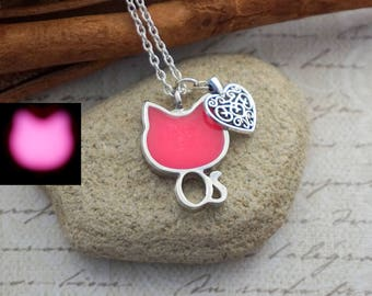 Mother Gift Glow in the dark Cat necklace Cat pendant Dainty necklace Birthday Gift For Teen Animal necklace Pink necklace Love pendant