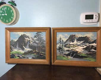 Pair of Mountain Lake Scene Paint by Numbers - Mid Century Modern - Landscape - PBN - Cabin Decor - Camp Decor - Vacation Home - Mountains