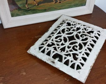 Ornate Victorian Cast Iron Wall or Floor Grate - Antique Grate - Architectural Salvage - Industrial - Antique Heating - Heart Design - Art