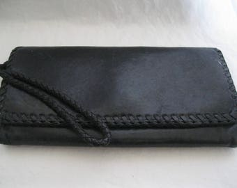 Hobo International Black Leather Braided Wallet
