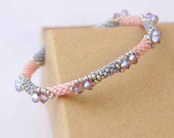 Beaded Swarovski Bracelet / Beaded Peyote Bracelet