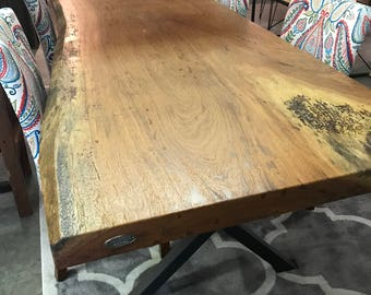 Live edge dining table, Live edge with a hand crafted custom X trestle base, unique dining table, custom slab table free shipping