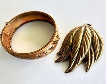 Antique Brass Cuff and Clip