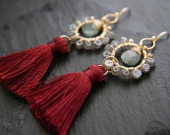 Tassel Earrings, Labradorite Earrings, Gold Hoop Earrings, Aquamarine Earrings, Gemstone Earrings, Gold Filled, Wine Red Earrings, Bohemian