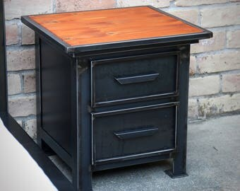 Night Stand Industrial Modern | Vintage Style Steel Metal Nighstand |  Drawer Cabinet | File Cabinet