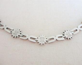 Vintage Mexico Sterling Silver 925 Sun Face Link Bracelet