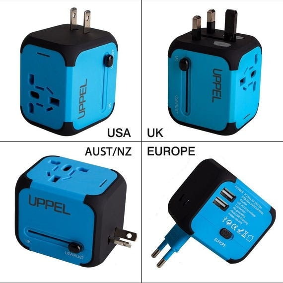 Universal Power Plug Adapter Charger with Dual USB and Safety Fuse