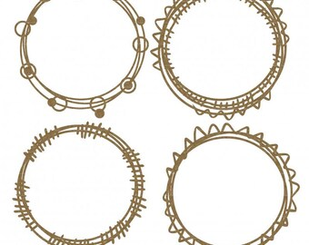 Circle Doodle Frames Set of 4  FREE SHIPPING! in US and Canada