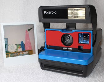 Ready To Go! Upcycled Blue and Red Polaroid 600 OneStep