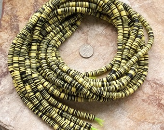 8 mm New Mixed Yellow & Black African Vinyl Disc Beads,Vulcanite Disc Beads, 32 inches (81 cm) Mixed Mali Record Disc Beads, African Beads
