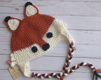 Crochet Fox Hat, READY TO SHIP, toddler,  winter hat, baby gift, baby shower, photo prop, woodland creature,