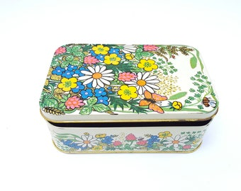 Flower Power 70s Vintage Tin, Floral Metal Storage Box, Colorful  Mod Tin