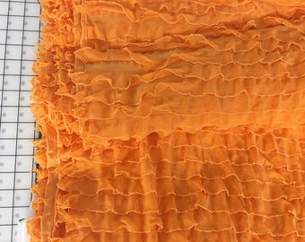 "1"" Orange Cascading Ruffle Fabric  by 1 yard"