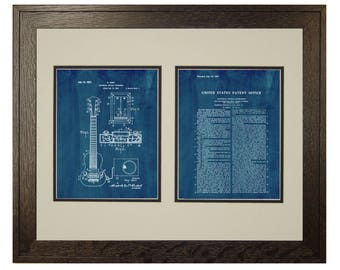 Framed Patent Art - Hart Electric Guitar Pickup WITH Real Rustic Wood Frame - Framed Patent Print