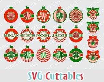 Christmas Ornament Monogram SVG, Digital Download Vector Design