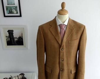 Men's blazer in brown tweed fabric, brand Façonnable, vintage 1990's. Size UE 50, USA 40. Designed by Albert Golberg ..