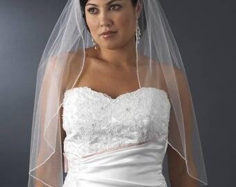 Swarovski Crystal Edged Bridal Veil, Swarovski Crystal Edged Elbow length Wedding Veil, 1 Layer Swarovski Crystal Veil,Light Ivory Veil