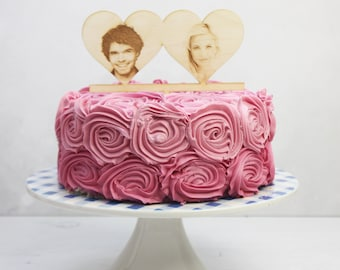 Personalised Photo Heart Cake Topper