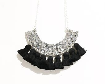 Silver glitter necklace with black tassels, statement necklace, laser cut necklace