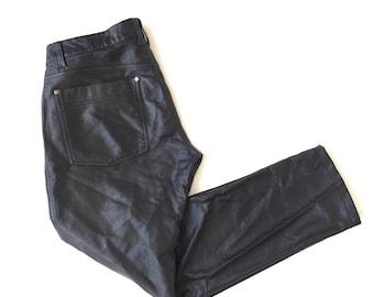 90s Black Vegan Leather Tripp Skinny Pants